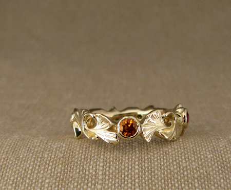 14K ginkgo ring with fancy color sapphires