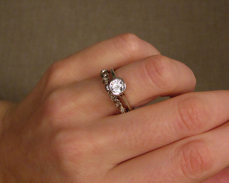 14K white gold solitaire and rosy eternity band