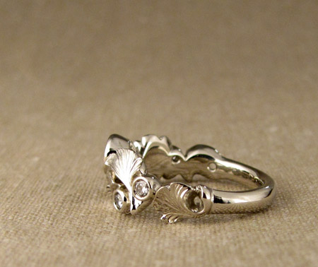14K white gold Custom-Carved Ginkgo and Diamond Band