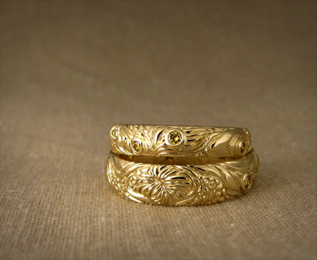 18K Solar Surface wedding bands w/yellow diamonds