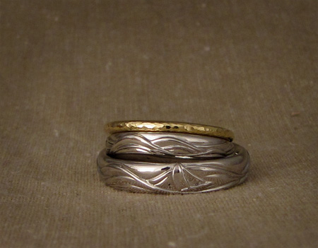 Ocean wave/sailboat wedding bands