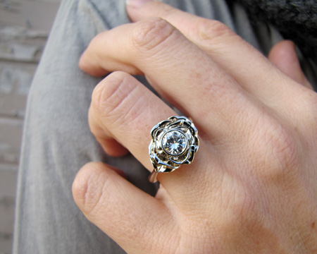 White gold Carved Rose Solitaire with 3/4ct diamond