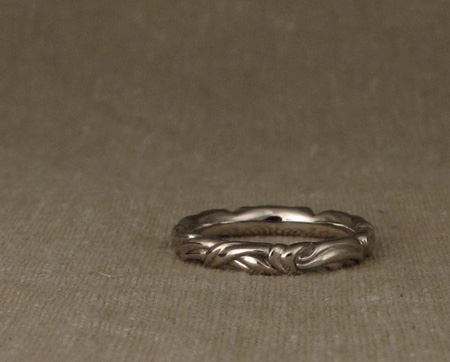 Art nouveau wedding band - 14K palladium white gold