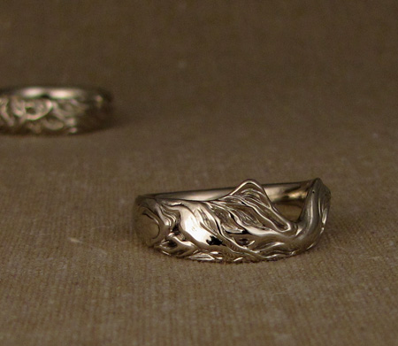 Custom carved oak tree wedding bands - 14K