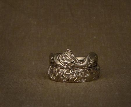 Custom carved oak tree wedding bands - 14K