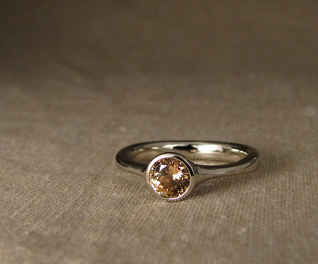Yellow Sapphire Solitaire in 14K white gold