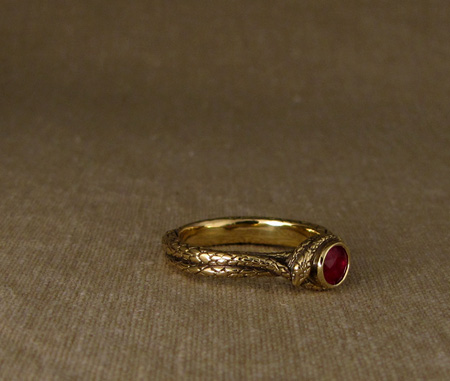 Coiled snake ring - 18K gold & ruby
