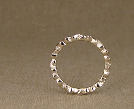 Carved Eternity Band with diamonds, 18K white gold