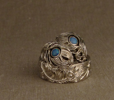 Peacock Ring and Storybook Band in 18K white gold
