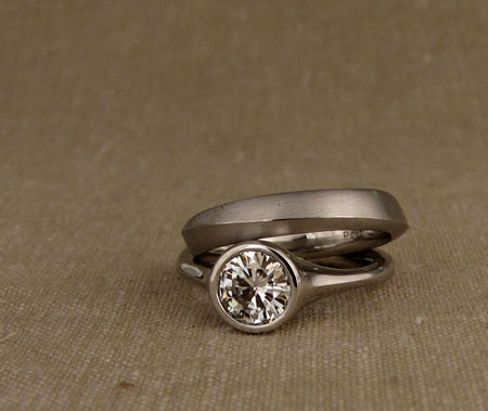 7mm brilliant solitaire in palladium with ridged band