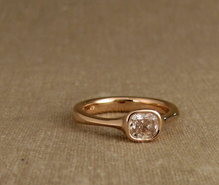 14K rose gold cushion-cut diamond solitaire