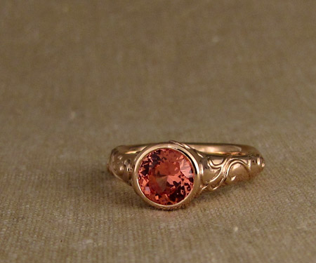 14K rose gold carved padparadscha sapphire