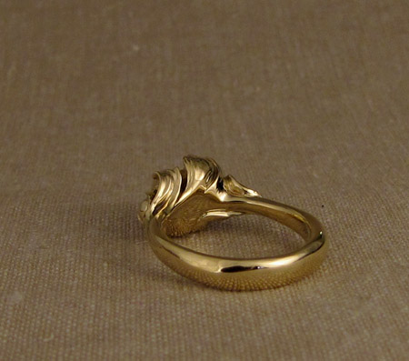 18K Carved Peony Ring