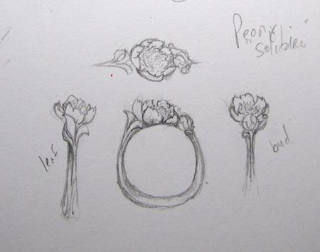Peony ring sketch
