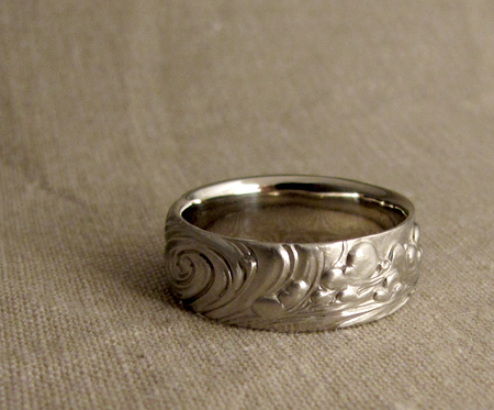14K carved wedding band