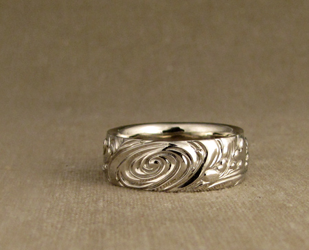 14K carved 4-elements wedding band