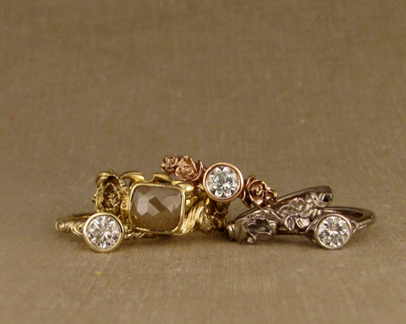 hand-carved rings in gold + diamonds