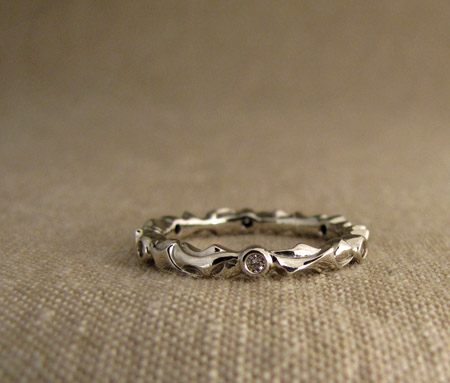 hand-carved thorny eternity band - 14K + diamonds