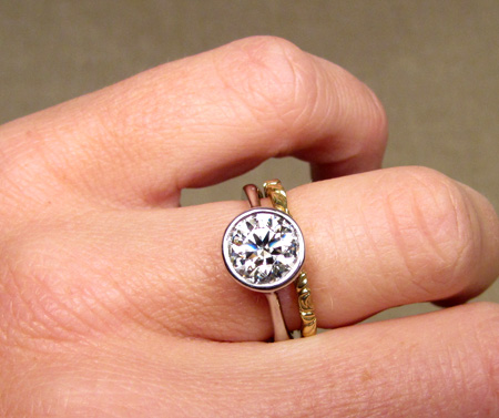 1.75ct palladium solitaire w/18K band