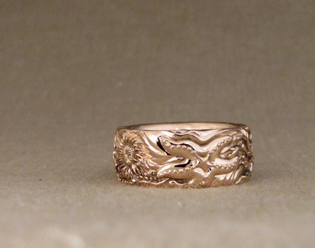 Hand-carved Tidepool band in 14K rose gold