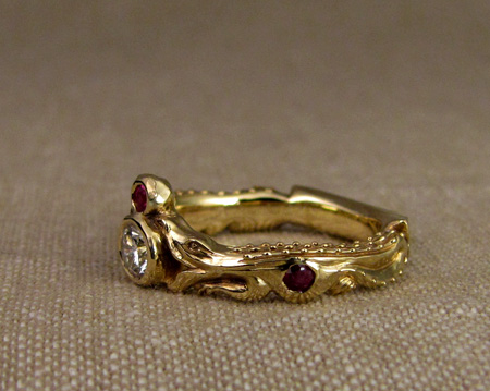 18K carved alligator band with rubies and diamonds