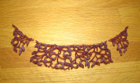 carved wax - mistletoe collar necklace