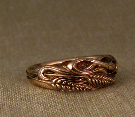 14K rose gold carved snake & wheat ring