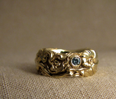 Hand-carved Mermaid ring, 18K, blue diamond