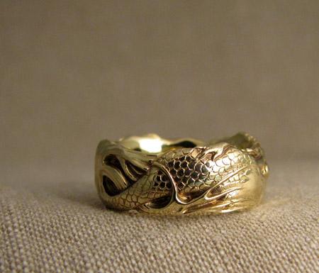 Hand-carved Mermaid ring, 18K, blue diamond