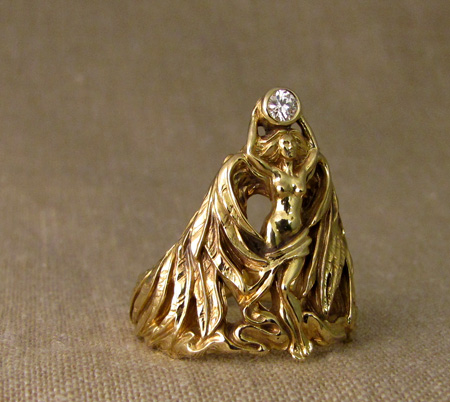 18K custom angel ring