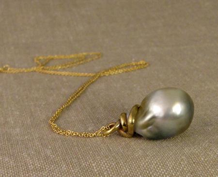 OOAK baroque Tahitian pearl w/carved 18K snake pendant