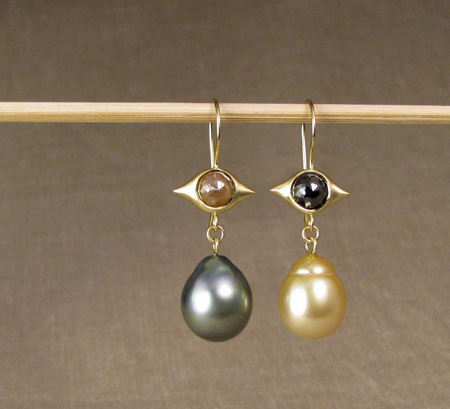 OOAK rose-cut diamond & baroque pearl drop earrings, 18K