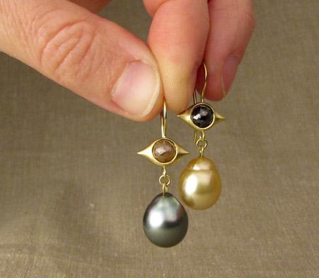 OOAK rose-cut diamond & baroque pearl drop earrings, 18K