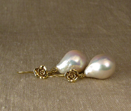 ooak 18K rose & baroque pearl drop earrings