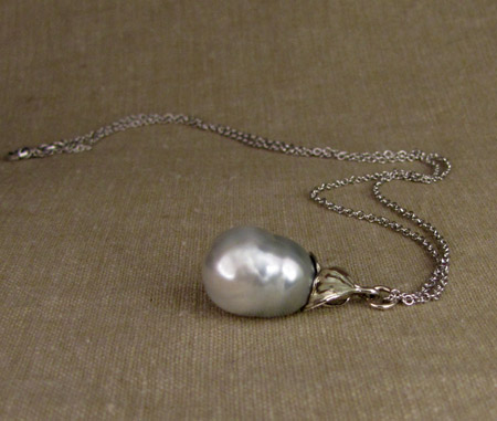 14K white gold floral Baroque pearl drop pendant