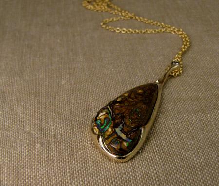 Boulder opal pendant carved ooak thorny rose 14K