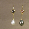 rose-cut diamond and pearl drop earrings