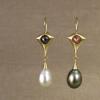 rose-cut diamond and pearl drop earrings