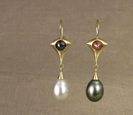 ooak rose-cut diamond and Tahitian pearl drop earrings, 18K