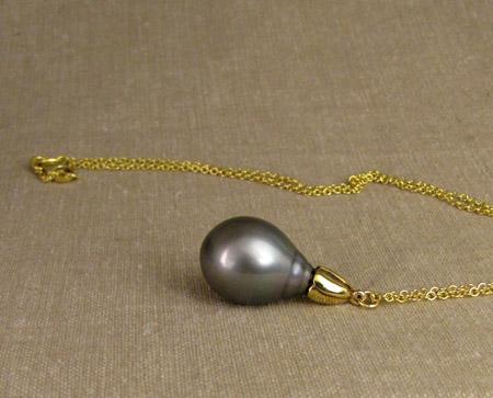 18K floral Tahitian pearl drop pendant