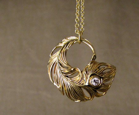 chain wedding necklace peacock pin gold feather filled pendant