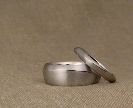 Hand-carved ridged bands, platinum