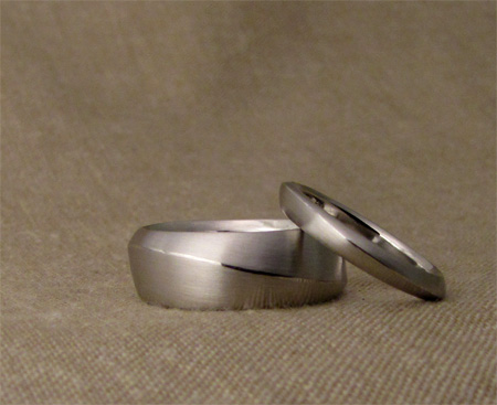 Hand-carved ridged bands, platinum