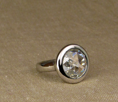 12mm rose-cut solitaire, platinum