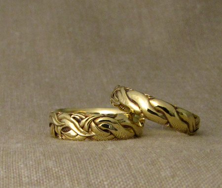 Hand-carved art nouveau leaves to rope wedding bands, 18K