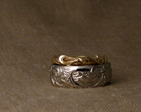 Hattaras Point wedding bands, custom carveed