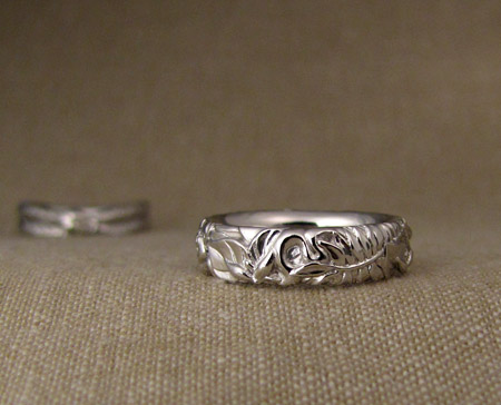 Hand-carved trillium + fern + snake wedding band, platinum