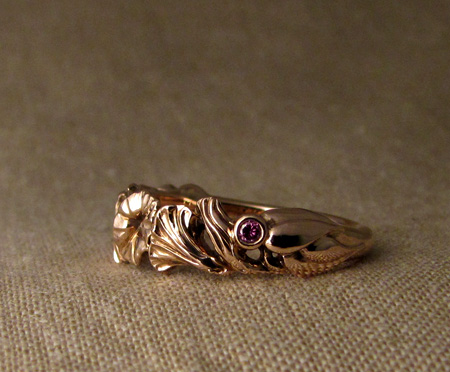 Hand-carved morning glory ring in rose gold, pink diamonds