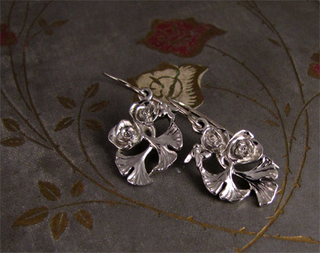 Hand-carved rose ginkgo bee pendant + earrings, 14K