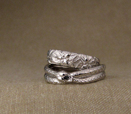 Hand-carved ouroboros + Pacific NW wedding bands, platinum